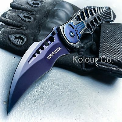 "8"" Skull Spring Assisted Open Folding Pocket Knife Karambit Claw Combat Tactical"