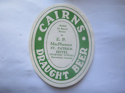 St PATRICK HOTEL CHARTERS TOWERS CAIRNS DRAUGHT BEER LABEL 1950s QLD MacPHERSON