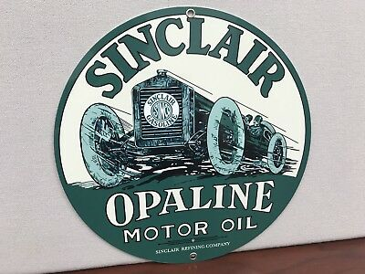 Sunclair Opaline Oil Gasoline Racing Gas man cave  vintage round sign Repro