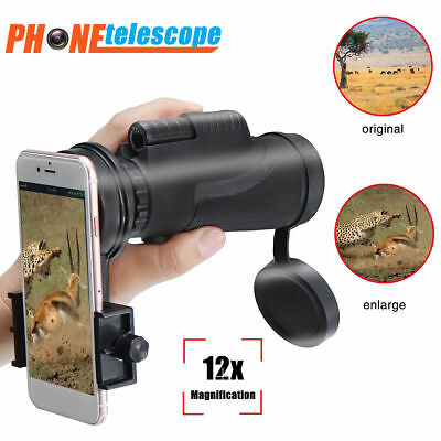 12x50 Clip-on Optical Telescope HD Zoom Camera Lens For Universal Mobile Phone