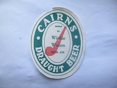 WINKIE WATERS HOTEL AYR CAIRNS DRAUGHT BEER LABEL 1950s QLD Bot by WINKIE WATERS