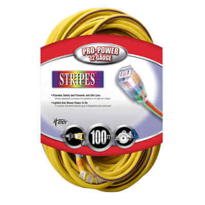Coleman Cable 2549 Yellow / Purple Neon Stripes / Cool Colors Outdoor 100' 12/3