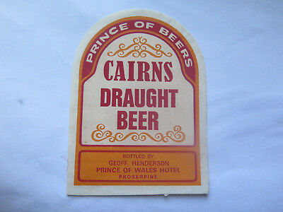 PRINCE of WALES HOTEL PROSERPINE CAIRNS DRAUGHT BEER LABEL 1960s QLD G HENDERSON
