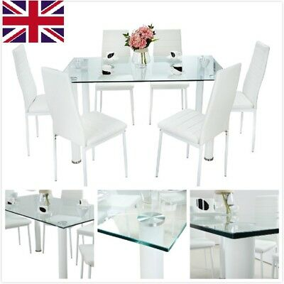 Clear Glass Dining Table Set and with 6 White Faux Leather Chairs Seats Designer