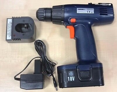 18V Cordless Drill Blue With Case and Selection of Drill Bits Euro Plug