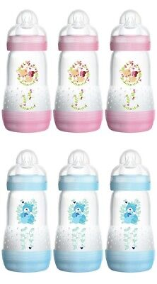 MAM Self Sterilising Anti Colic 260ml Bottles Pink / Blue (3 / 6Pack)
