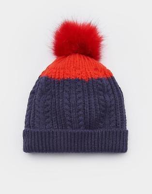 c7993e773aa Joules Girls Bobble Hat with Faux Fur Pom Pom and Fleece Lining in French  Navy