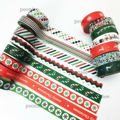 10m XMAS Washi Paper Masking Tape Handmade Craft Scrapbook Gift Wrap Home Decor