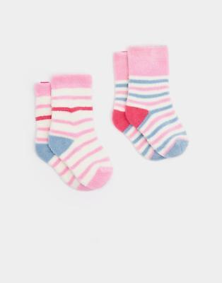 Joules 124470 Baby Girls Socks from Terry Towelling in Pink Stripe pack of 2