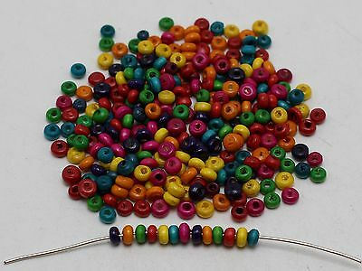"2000 Mixed Color 3mm(0.12"") Round Wood Seed Beads~Wooden beads"