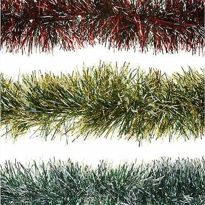 2m Snow Tipped Tinsel Garland 6ply Thick Christmas Tree Home Festive Decoration