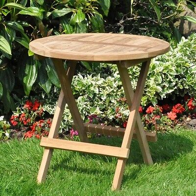 Round Garden Teak Traditional Wooden Wooden Folding Picnic Drinks Table Patio