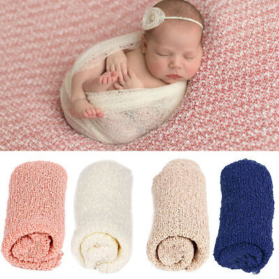 Newborn Baby Girl Boy Crochet Knit Wrap Swaddle Photography Photo Props 4 Colors
