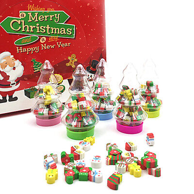 18Pcs Child Mini Santa Christmas Gift Kids Rubber Eraser Stationery Tree Bottle
