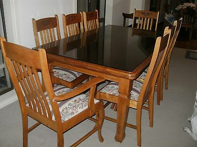 Antique Qld Maple Dining Suite, Table 8 chairs, Sideboard, Traymobile, Hallseat