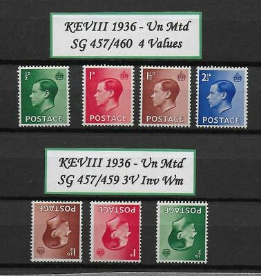 **1936 Edward VIII Full Set Up Wmmk & Inv Wmk SG457-460/457w-459w MNH**