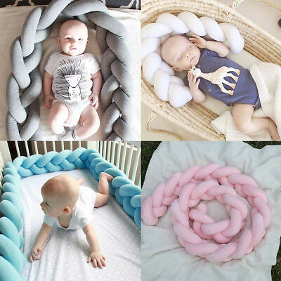 Baby Crib Bumper Breathable Comfy Braid Plush Infant Toddler Bed Cot Protector