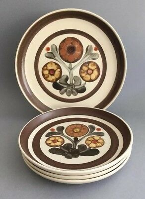DENBY Langley 'Mayflower' 1x Dinner Plate & 3x Salad Plates ~ Cream & Brown
