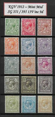 **1912 George V Full Set ROYAL CYPHER SG351-395 MM High Cat**