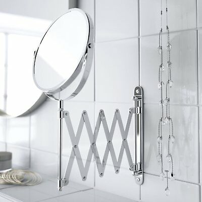 IKEA FRACK Wall  Extendable Stainless Steel Round Shave Mirror Magnifying Glass