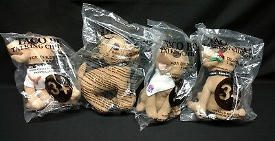 Lot of 4 Taco Bell Talking Chihuahua Plush Dogs. SEALED Rose, Bandana, T Shirt,