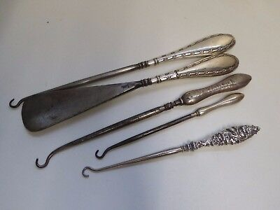 Job Lot of Good Quality Antique Silver Handled Button Hooks and Shoe Horn
