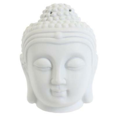 Buddha Head Oil Burner Tealight Aroma Therapy White Removable Lid Gift