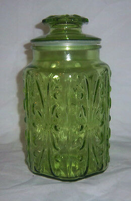Vintage Green Glass Multisided Apothecary Jar Canister w/Arches & Dots RETRO