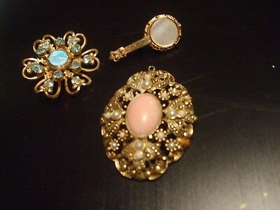 Vintage Lot Of Three Brooches One Signed Avon