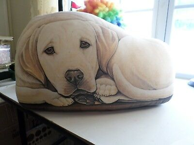 Fiddler's Elbow Fabric Dog Yellow Labrador Lab Pillow Door Stop Leslie Anderson