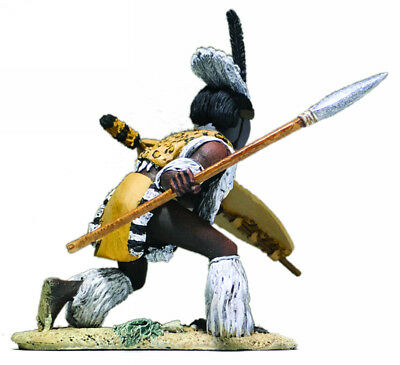 BRITAIN SOLDIERS ZULU uThulwana REGIMENT ATTACKING LOW WITH ASSEGAI WB20179