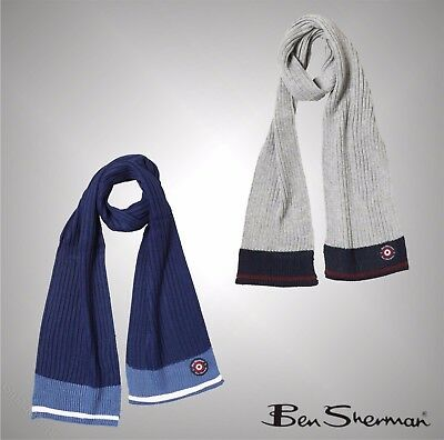 Kids Boys Branded Ben Sherman Stylish Ribbed Knit Acrylic Scarf One Size