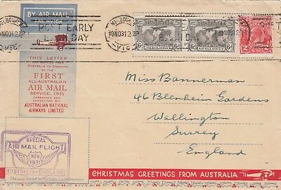 1931 FIRST ALL AUSTRALIAN AIR MAIL COVER TO ENGLAND,Christmas Letter (Included)