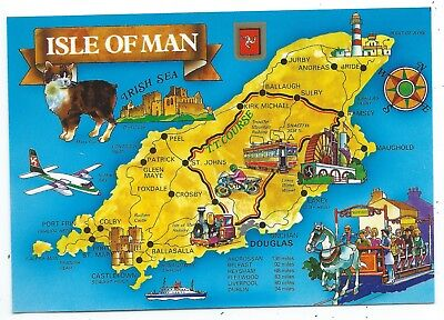 "ISLE OF MAN - MAP Showing T.T. COURSE Fisa 6"" x 4"" Postcard"