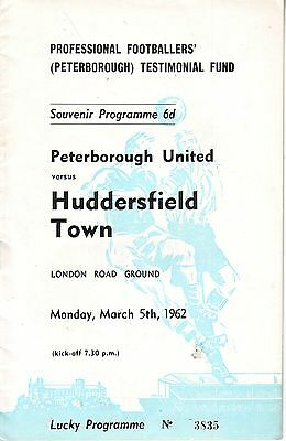 PETERBOROUGH V HUDDERSFIELD 1962 TESTIMONIAL for PROFESSIONAL FOOTBALLERS VGC