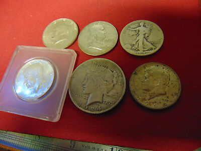 1- 1924  Peace Silver Dollar Plus 5 Silver Halves -All for one money