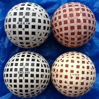4 x SCARCE NAMED MESH GOLF BALLS c1927-1929
