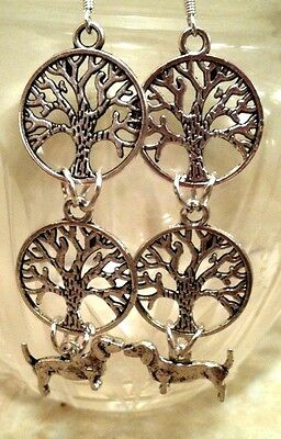 TREE of LIFE DACHSHUND Dog Earrings, .925 Sterling Silver Wires pet Celt Wicca