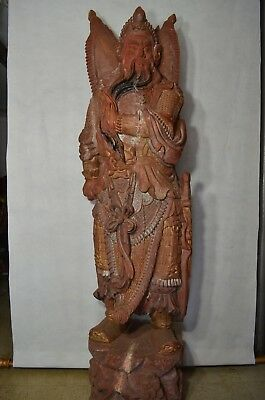 Super Large Vintage Chinese Guan Gong Wood Statue/Figurine * Hand Carved.