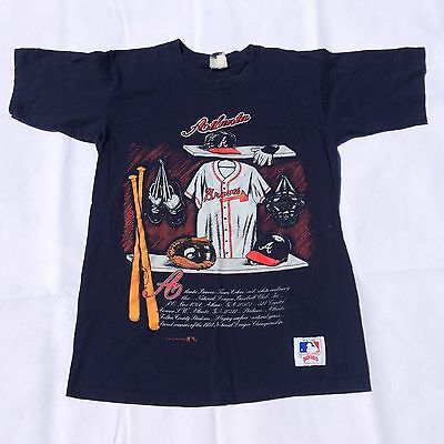 Vintage Atlanta Braves MLB Baseball Tshirt Navy Large 15 Embroidered USA Nutmeg