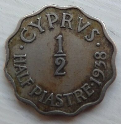 1938 Cyprus 1/2 Piastre Coin
