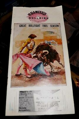 Vintage 1965 ACAPULCO MEXICO Color Bullfight Brochure & Ticket stub