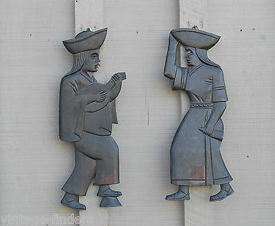 Old Vintage Handcarved Latin American Man & Woman Wooden Wall Plaque Figurines