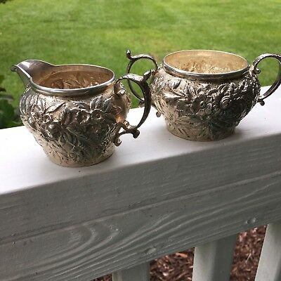Antique Kirk & Son Co. Solid Sterling Silver Repousse Cream/Sugar Set 1896-1924