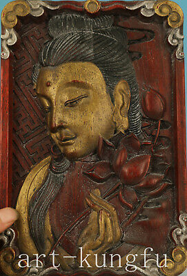 Chinese Old wood Handmade Carved Kwan-yin Statue Figure Decoration
