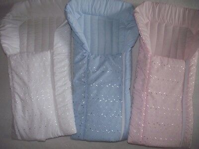 Broderie Anglaise Romany Style Padded Baby Nest Sack Pink White or Sky Blue