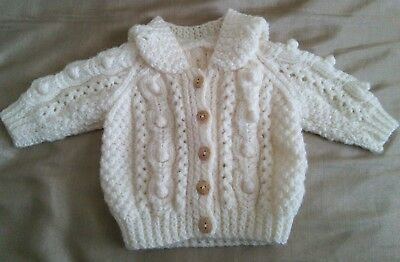 Hand Knitted Hooded Baby Cardigan Newborn