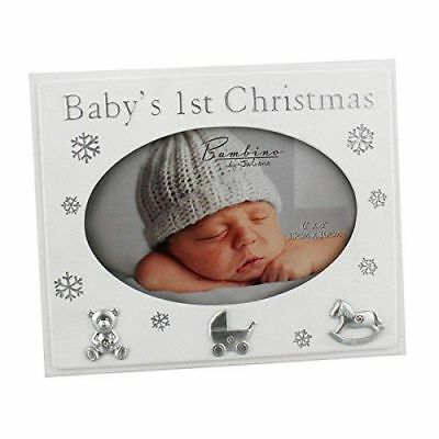 "Bambino ""Baby's 1st Christmas"" Photo Frame New Baby Christmas Gift 4"" x 6"""