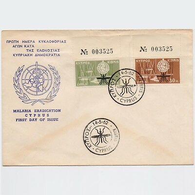 Cyprus 1962 Malaria Issue On Unofficial Fdc & Stamps With Control Number