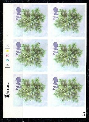 2002 2nd class Christmas, Imperf Cylinder Block of 6